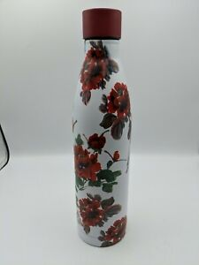 """Large Red Flowers Print Stainless Steel Water Bottle 12"""" x 3"""" Heritage"""