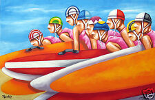 "36"" Australia Beach Surf Life Saving Surf Boards COA art Poster By Andy Baker"