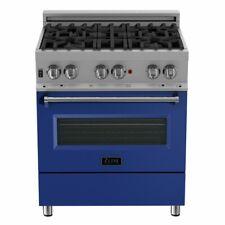 "Zline 30"" Dual Fuel Range Oven Gas Electric Stainless Blue Door Ras-Bm-30"