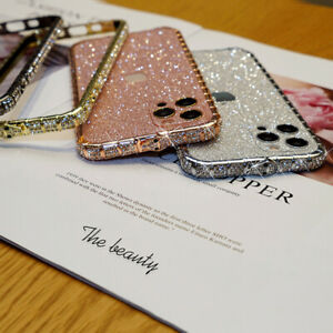 Diamond Frame Case + Glitter Back Cover Protector Film For iPhone 12 11 Pro Max