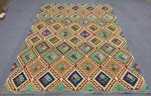 New Afghan Chobi Hand Woven Veg Dyed Wool Kilim Kilm Area Rug 10 x 7 (1103 HMN)