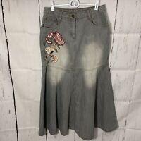 Jeanology Long Denim Maxi Skirt Boho Grey Modest Sz 10 NO SLIT Fit N Flare