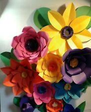 """7 GIANT PAPER FLOWERS uo to 18"""" CUSTOM ANY COLORS USA MADE FULLY ASSEMBLED"""