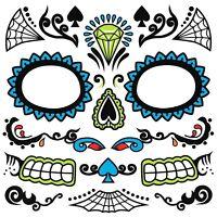 Dia de los Muertos Day of Dead Sugar Skull Temporary Face Tattoo Men's Costume