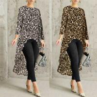 Women Blouse High Size Asymmetrical Long Tops Shirt Plus Sleeve Waterfall Low US