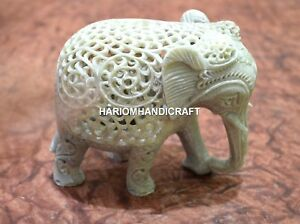 """5"""" Marble Hand Carved Elephant Lattice Work Italian Living Home Decor Gifts H657"""