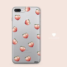 Clear TPU Plastic Case Cover for Apple iPhone Devices - PEACH EMOJI