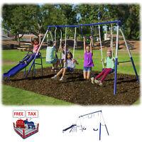 Metal Swing Slide Set Playground Outdoor Kid Child Fun Backyard Garden Swingset