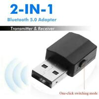 2 in1 Stereo Audio Adapter Bluetooth 5.0 Transmitter w/ Receiver Aux 3.5mm T4W1
