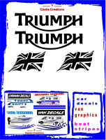 "TRIUMPH  6"" PAIR  + 4"" FLAGS  Motorcycle MotorBike Tank Fairing Stickers Decals"