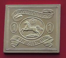 Moderne Plaqué Or 8.21 G argent TIMBRE LINGOT état allemand Brunswick sauteur Cheval