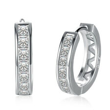 18K White Gold Plated Cubic Zirconia Round Hoop Earrings for Women Teen Girls /