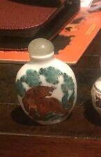snuff bottle China antique porcelain tiger