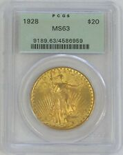 1928 GOLD $20 ST GAUDENS DOUBLE EAGLE GREEN LABEL PCGS MINT STATE 63