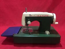 VINTAGE TOY SEWING MACHINE HAND OPERATED GREEN BLUE AND WHITE
