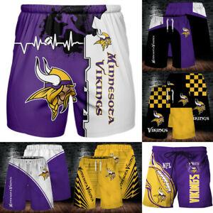 Minnesota Vikings Summer Casual Shorts Men's Beach Swim Trunks Cool Loose Shorts