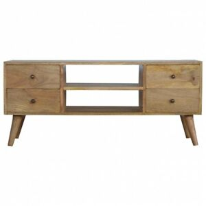 Solid Wood 4 Drawers Media TV Unit Scandi Nordic Style Oak Handmade Furniture