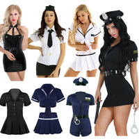 Women Sexy Police Cop Costume Officer Outfit Cosplay Fancy Dress Up Halloween