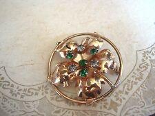 silver gold plate rhinestone Oak Leaf Vintage Pin lapel brooch Pendant Sterling