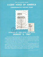 #1329 5c Voice of America Stamp Poster- Unofficial Souvenir Page Flat HC