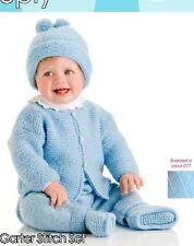 BABY KNITTING  Pattern  jacket leggings hat booties. 0/6m aran  easy knit