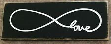 LOVE Infintity Symbol ChiC ShaBBy Sign pik color Wood Plaque Wedding Anniversary