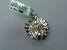 Sterling Silver Sun Flower and butterfly charm/ Pendant New RRP $39