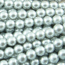 *140pcs 6mm Light Grey/Silver Color Faux Imitation Plastic Round Pearl Beads*