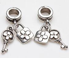 10Pcs Tibet Silver Ring Key Lock Charm Loose Spacer Beads Pendants Jewelry DIY