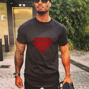 Men's Short Sleeve T-shirts Casual Men Bodybuilding Fashion Workout Clothes Tee