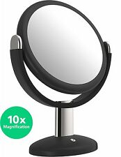 10x Magnified Vanity 7 Inch Round Makeup Cosmetic Mirror Double Sided Glass