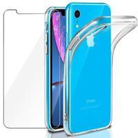 Full Cover Panzerfolie für iPhone XR + Handy Hülle Silikon Case Schutz 9H Glas