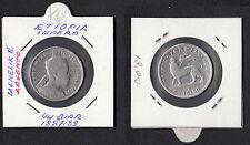 ETHIOPIA ETIOPIA Impero Ruler Re Menelik II argento 1/4 Birr 1887/89 Silver
