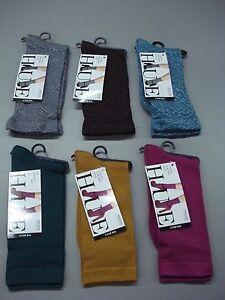 NWT Women's Hue Luster Flat Knit & Brocade Socks One Size Multi 6 Pair #91J