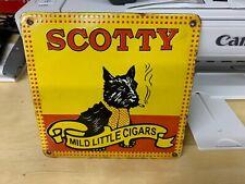 """SCOTTY MILD LITTLE CIGARS"" HEAVY PORCELAIN ADVERTISING SIGN, (6""x 6"") NICE SIGN"