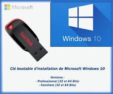 Clé USB bootable d'installation Windows 10 Pro et Familiale 32 et 64bits