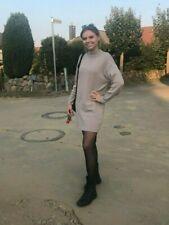 Damen Strick Pullover lang beige Long Pulli Stehkragen Kleid Sweater XS- 2XL 439