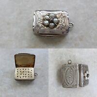 Diamond & Pearl Set Silver Vinaigrette ~ Hilliard & Thompson ~ Birmingham ~ 1879