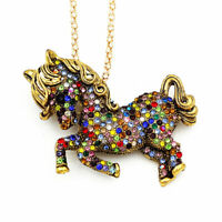 Colorful Rhinestone Pony Horse Pendant Chain Betsey Johnson Necklace/Brooch Pin