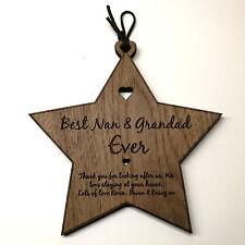 Best Number 1 Nan & Grandad Personalised Wooden Star Plaque Birthday Gift
