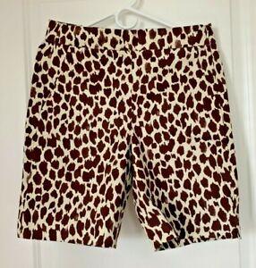 NWT J.Crew Bermuda Stretch Shorts Beige Brown Giraffe Print Size 6