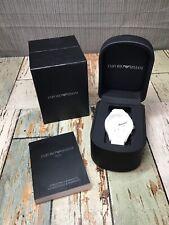 Emporio Armani Men's AR1431 White Ceramic Silicone Chrono Watch *READ*