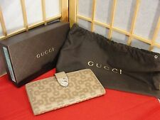 GUCCI Crystal Signoria Buckle Leather Long Wallet Dust Cover Box & Cards