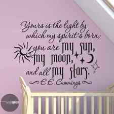 Yours Is The Light By Which My Spirit's Born EE Cummings Quote Vinyl Wall Decal