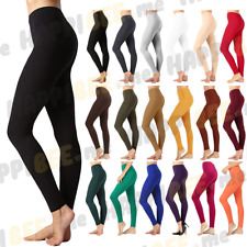 Womens Cotton Long Leggings PREMIUM Full Ankle Length Yoga Pants High Waist Rise