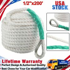 """Durable 1/2""""x200' Three Strand Nylon Braided Boat Lines Twisted Dock Anchor Rope"""