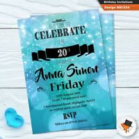 Personalised blue birthday party invitations invites & envs 21st 30th 40th 50