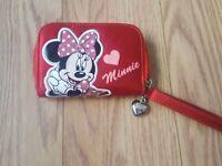 "Girls Minnie Mouse Wristlet Wallet Change Coin Purse Pink Polka Dot Heart 4.5x3"""