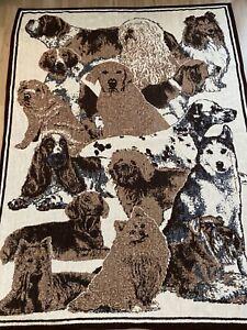 "Vintage San Marcos Blanket Throw Dog Lovers 58"" X 82"""