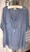 NEW Plus Size 2X Blue Blouse Lace Crochet Pin Tuck Tie Peasant Top Shirt